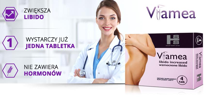Viamea - banner infografika - zwiększa libido, wystarczy już jedna tabletka, nie zawiera hormonów